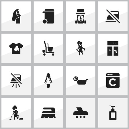 homemaker: Set Of 16 Editable Cleanup Icons. Includes Symbols Such As Washing Glass, Exhauster, Laundress And More.