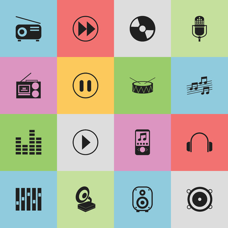 drumset: Set Of 16 Editable Media Icons. Includes Symbols Such As Media Fm, Musical Sign, Music Phone And More. Can Be Used For Web, Mobile, UI And Infographic Design. Illustration