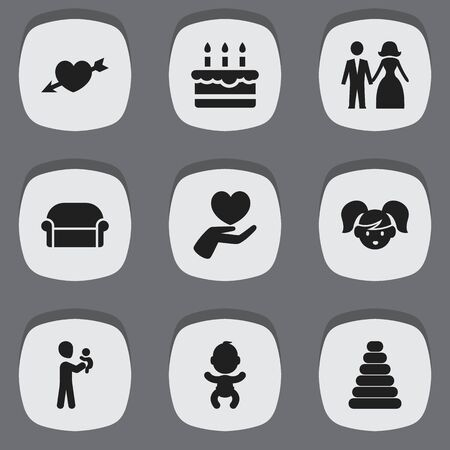 Set Of 9 Editable Relatives Icons. Includes Symbols Such As Canape, Married, Heart And More. Can Be Used For Web, Mobile, UI And Infographic Design.