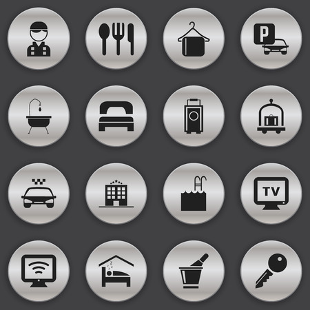 unblock: Set Of 16 Editable Hotel Icons. Includes Symbols Such As Restaurant, Employee, Unblock Access And More. Can Be Used For Web, Mobile, UI And Infographic Design.
