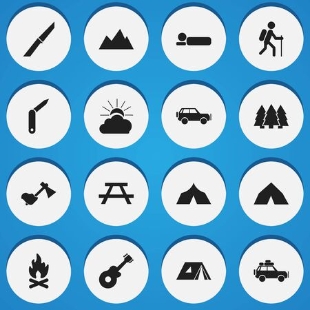 refuge: Set Of 16 Editable Trip Icons. Includes Symbols Such As Peak, Sunrise, Musical Instrument And More. Can Be Used For Web, Mobile, UI And Infographic Design.