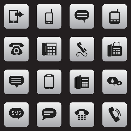 gps device: Set Of 16 Editable Phone Icons. Includes Symbols Such As Office Telephone, Transceiver, Retro Telecommunication And More. Can Be Used For Web, Mobile, UI And Infographic Design.