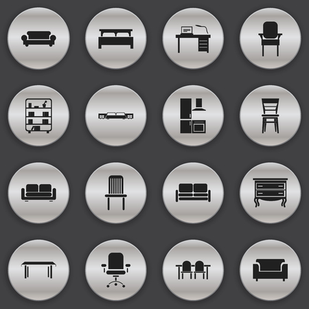furnishings: Set Of 16 Editable Furniture Icons. Includes Symbols Such As Bearings, Restaurant Table, Interior And More. Can Be Used For Web, Mobile, UI And Infographic Design.