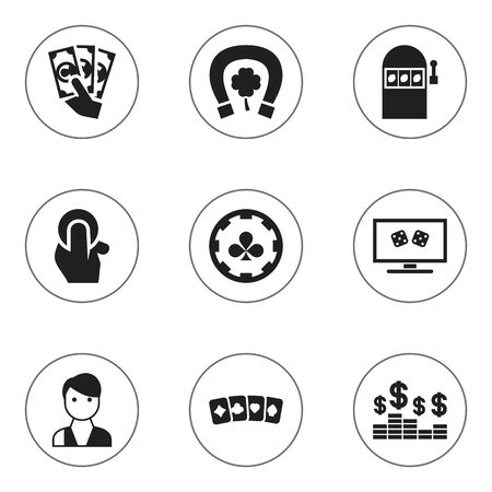 dime: Set Of 9 Editable Business Icons. Includes Symbols Such As Diamond Cards, Dollar, Trader And More. Can Be Used For Web, Mobile, UI And Infographic Design. Illustration