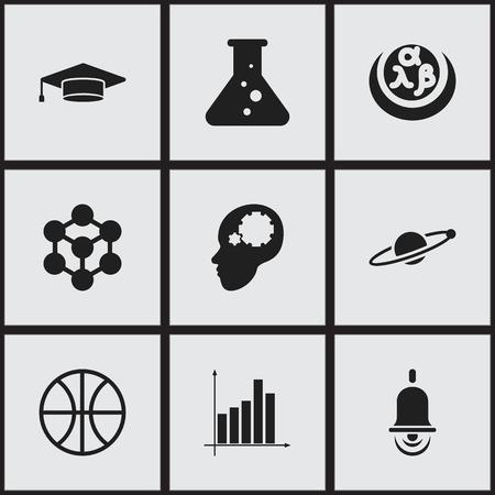 Satz Von 16 Bearbeitbaren Universitätsikonen. Enthält Symbole Wie ...