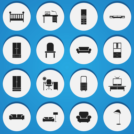 living room wall: Set Of 16 Editable Home Icons. Includes Symbols Such As Sofa, Illuminant, Settee And More. Can Be Used For Web, Mobile, UI And Infographic Design.