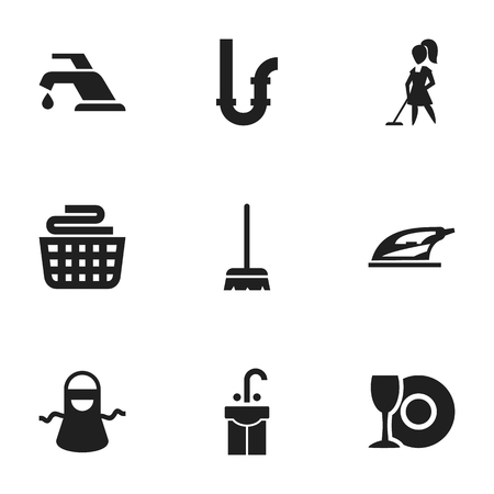 Set Of 9 Editable Dry Cleaning Icons Includes Symbols Such As