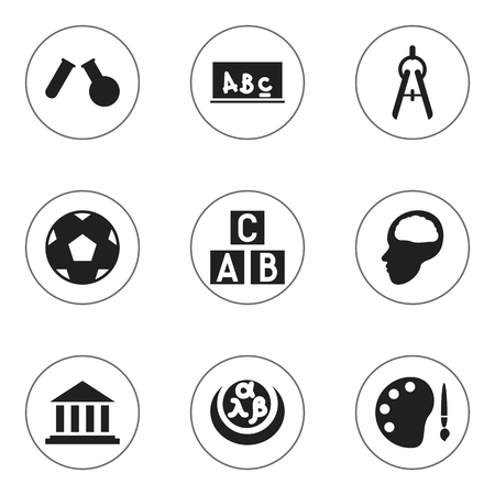 baccalaureate: Set Of 9 Editable Graduation Icons. Includes Symbols Such As Alphabet Cube, Museum, School Board And More. Illustration