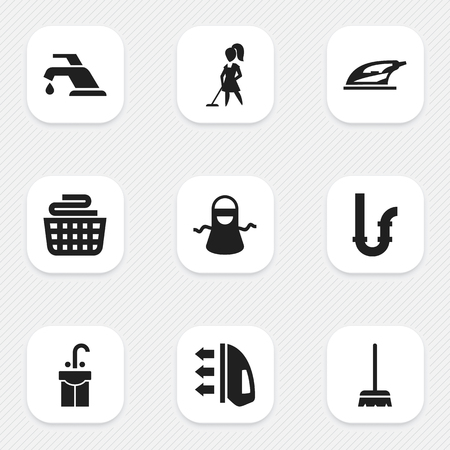 siphon: Set Of 9 Editable Cleanup Icons. Includes Symbols Such As Faucet, Steam, Sink And More. Illustration