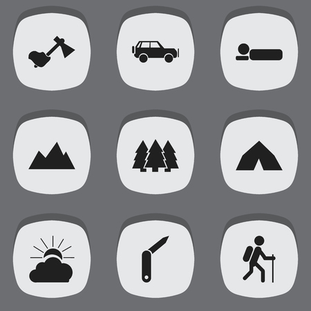 gait: Set Of 9 Editable Camping Icons. Includes Symbols Such As Sunrise, Sport Vehicle, Ax And More.