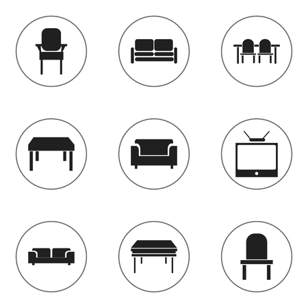 furnishings: Set Of 9 Editable Interior Icons. Includes Symbols Such As Couch, Trestle, Stool And More.