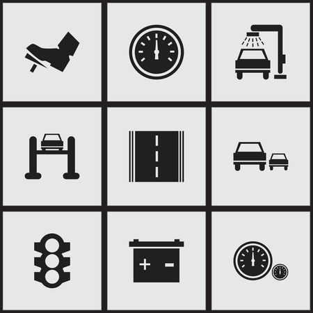 Set Of 9 Editable Transport Icons. Includes Symbols Such As Speed Control, Speedometer, Race And More.
