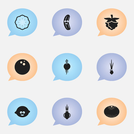 intake: Set Of 9 Editable Vegetable Icons. Includes Symbols Such As Garlic, Pineapple, Blackberry And More. Illustration