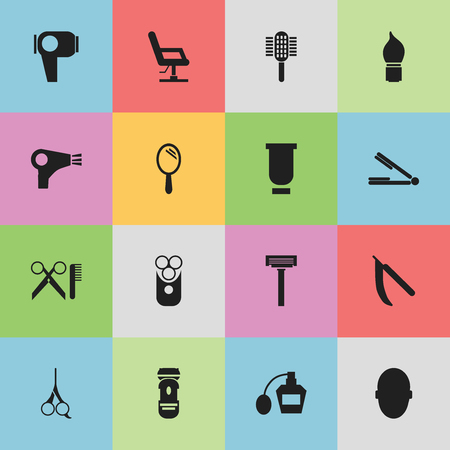 barbershop: Set Of 16 Editable Tonsorial Artist Icons. Includes Symbols Such As Elbow Chair, Desiccator, Take The Hair Dryer And More.