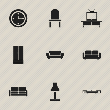 Set Of 9 Editable Interior Icons. Includes Symbols Such As Watch, Tv, Cupboard And More.
