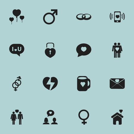 Ensemble de 16 icônes d'amour modifiables. Inclut des symboles tels que le signe masculin, la confession, la lettre d'affection et plus.