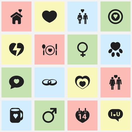 pounce: Set Of 16 Editable Heart Icons. Includes Symbols Such As Pounce, Proclamation, Cutlery And More. Illustration