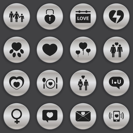 Set Of 16 Editable Love Icons. Includes Symbols Such As Pounce, Family, Soul And More.