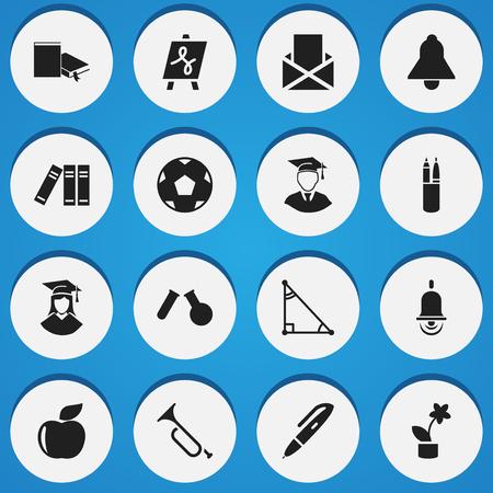 Ensemble de 16 icônes de science modifiables. Inclut des symboles tels que l'hélice, la fiole, le signet et plus.
