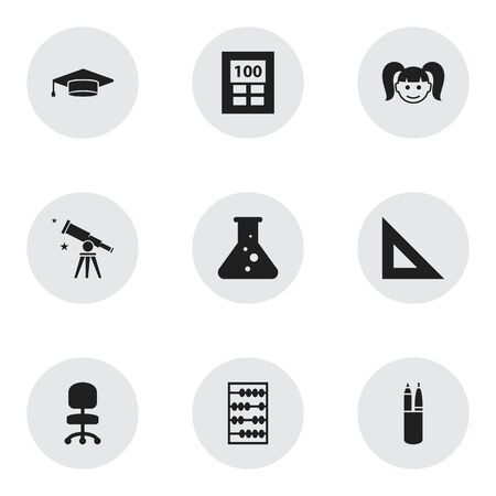 Set Of 9 Editable School Icons. Includes Symbols Such As Daughter, Work Seat, Graduate And More.