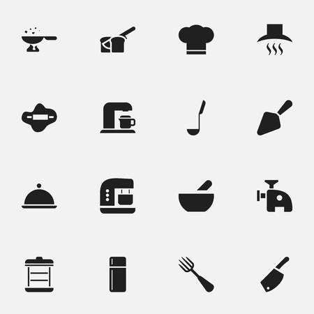 Set Of 16 Editable Cooking Icons. Includes Symbols Such As Meat Grinder, Soup, Cook Cap And More.