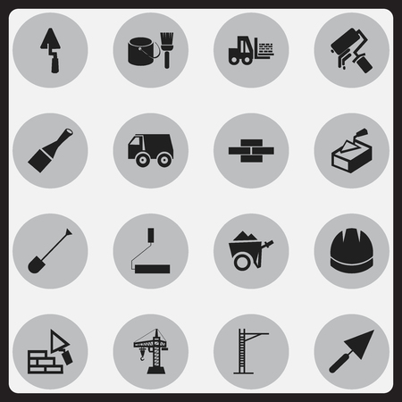 Set Of 16 Editable Construction Icons. Includes Symbols Such As Hoisting Machine, Stone, Handcart.