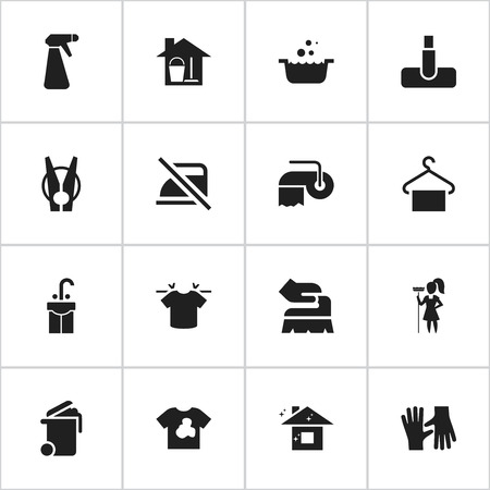Set Of 16 Editable Hygiene Icons. Includes Symbols Such As Tub, Working At Home, Bucket With Mop And More. Illustration