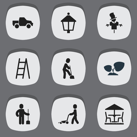 bugaboo: Set Of 9 Editable Gardening Icons. Includes Symbols Such As Stairway, Grass Cutting Machine, Bugaboo And More. Can Be Used For Web, Mobile, UI And Infographic Design. Illustration