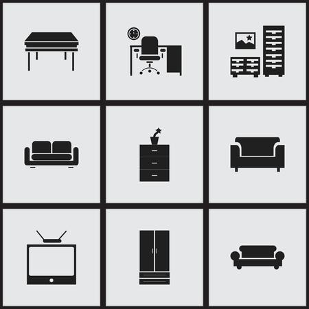 Set van 9 bewerkbare Home-pictogrammen. Bevat symbolen zoals Davenport, Trestle, Office en meer. Kan worden gebruikt voor Web, Mobile, UI en Infographic Design.
