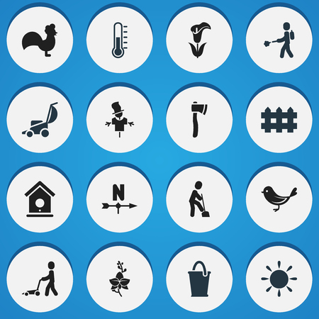 bugaboo: Set Of 16 Editable Plant Icons. Includes Symbols Such As Breeze Direction, Sunshine, Lily And More. Can Be Used For Web, Mobile, UI And Infographic Design.