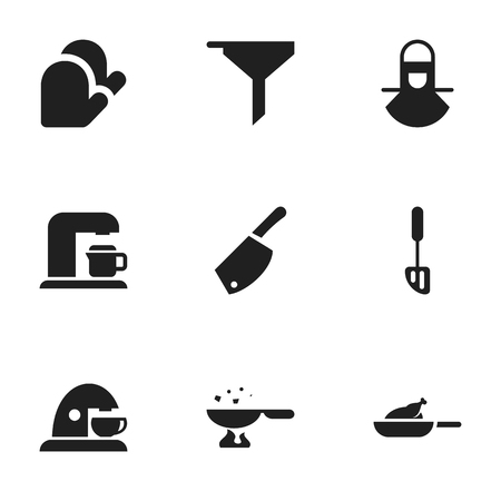 Set Of 9 Editable Meal Icons. Includes Symbols Such As Rocker Blade, Grill, Cooking Pan And More. Can Be Used For Web, Mobile, UI And Infographic Design. Illustration
