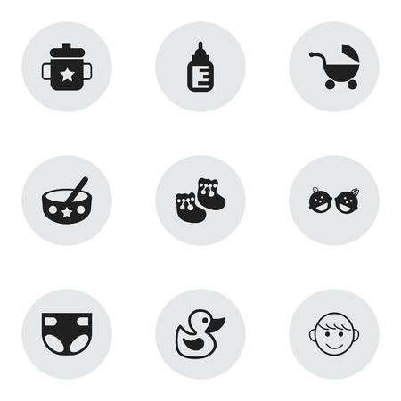 Set de 9 iconos Editable Kid. Incluye símbolos tales como gemelos bebés, Goplet, cuchara y más. Se puede usar para diseño web, móvil, de interfaz de usuario y de infografía.