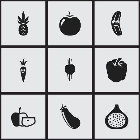 petiole: Set Of 9 Editable Cookware Icons. Includes Symbols Such As Radish, Ananas, Bulgarian Bell And More. Can Be Used For Web, Mobile, UI And Infographic Design.
