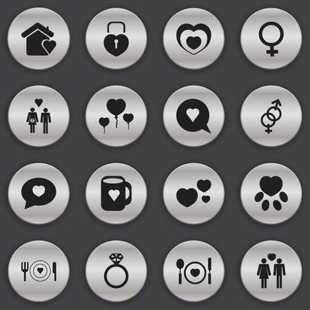 Lot de 16 éditables Love Icons. Comprend des symboles tels que Trappings, Heartbeat, Traquenard et plus encore. Peut être utilisé pour le Web, Mobile, l'interface utilisateur et la conception infographique. Banque d'images - 74801674