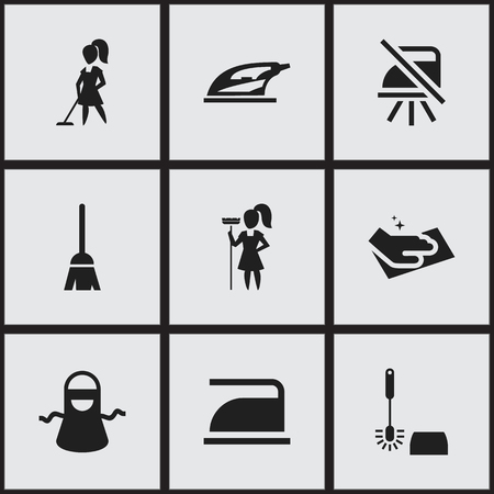 steam iron: Set Of 9 Editable Hygiene Icons. Includes Symbols Such As Ironing, Wc Cleaning, Broomstick And More. Can Be Used For Web, Mobile, UI And Infographic Design. Illustration