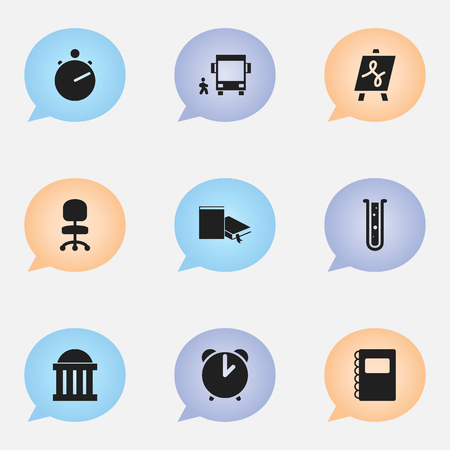 tabulation: Set Of 9 Editable School Icons. Includes Symbols Such As Work Seat, Flask, Tabulation And More. Can Be Used For Web, Mobile, UI And Infographic Design.
