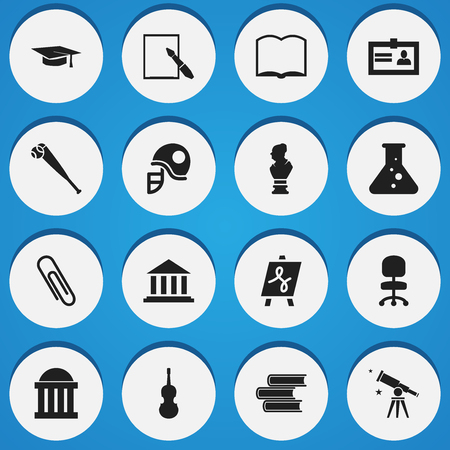 baccalaureate: Set Of 16 Editable Education Icons. Includes Symbols Such As Book, Fiddle, Binoculars And More. Can Be Used For Web, Mobile, UI And Infographic Design. Illustration