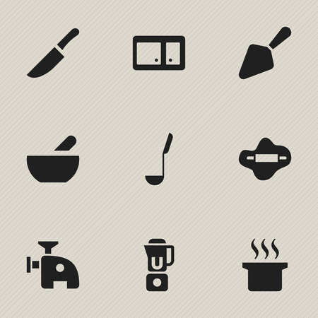 Set Of 9 Editable Cooking Icons. Includes Symbols Such As Dough, Soup Spoon, Knife And More. Can Be Used For Web, Mobile, UI And Infographic Design.
