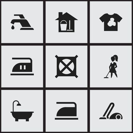 Set Of 9 Editable Cleanup Icons. Includes Symbols Such As Ironing, Bathroom, Faucet And More. Can Be Used For Web, Mobile, UI And Infographic Design. Illustration