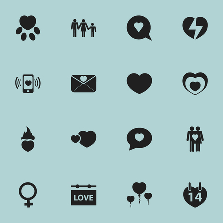 pounce: Set Of 16 Editable Heart Icons. Includes Symbols Such As Woman Symbol, Banner, Soul And More. Can Be Used For Web, Mobile, UI And Infographic Design.