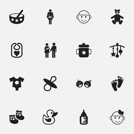 Conjunto De 16 Iconos Del Infante Editable. Incluye símbolos tales como niños alegres, Pinafore, cuchara y más. Puede ser utilizado para Web, Mobile, UI y diseño Infográfico.