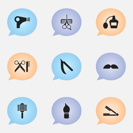 barbershop: Set Of 9 Editable Hairstylist Icons. Includes Symbols Such As Hairdresser Set, Charger, Scrub And More. Can Be Used For Web, Mobile, UI And Infographic Design.