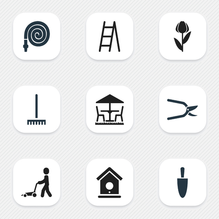 Set Of 9 Editable Plant Icons. Includes Symbols Such As Farm Tool, Shovel, Hosepipe And More. Can Be Used For Web, Mobile, UI And Infographic Design.