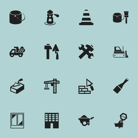 plow: Set Of 16 Editable Building Icons. Includes Symbols Such As Balcony, Construction Tools, Spatula And More. Can Be Used For Web, Mobile, UI And Infographic Design.