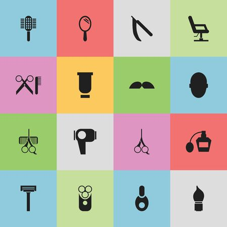 barbershop: Set Of 16 Editable Barber Icons. Includes Symbols Such As Whiskers, Vial, Blade And More. Can Be Used For Web, Mobile, UI And Infographic Design.