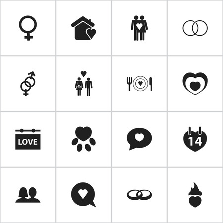 pounce: Set Of 16 Editable Love Icons. Includes Symbols Such As Pounce, Proclamation, Wedding And More. Can Be Used For Web, Mobile, UI And Infographic Design.