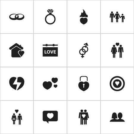 Set Of 16 Editable Love Icons. Includes Symbols Such As Sexuality, Divorce, Wedding And More. Can Be Used For Web, Mobile, UI And Infographic Design. Illustration