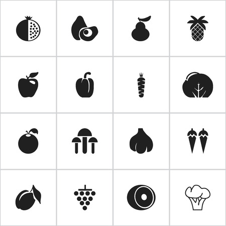 Set Of 16 Editable Fruits Icons. Includes Symbols Such As Garlic, Chili, Sweet Pepper And More. Can Be Used For Web, Mobile, UI And Infographic Design.