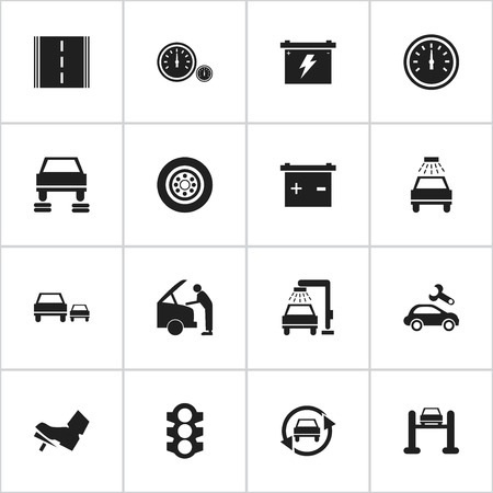 treadle: Set Of 16 Editable Transport Icons. Includes Symbols Such As Vehicle Wash, Stoplight, Treadle And More. Can Be Used For Web, Mobile, UI And Infographic Design.