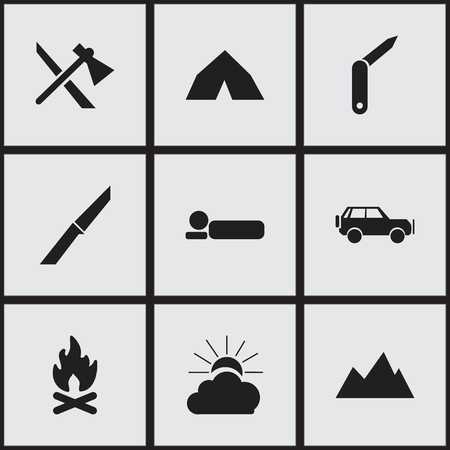conflagration: Set Of 9 Editable Camping Icons. Includes Symbols Such As Bedroll, Sunrise, Clasp-Knife And More. Can Be Used For Web, Mobile, UI And Infographic Design.